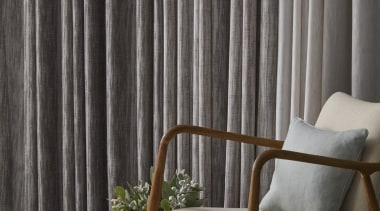 Tranquil, serene and inherently restful, this soft sheer chair, couch, curtain, floor, furniture, interior design, table, wall, window, window covering, window treatment, wood, gray, black