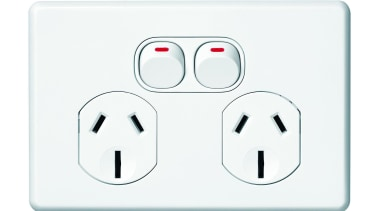 Slimline Series double horizontal socket ac power plugs and socket outlets, technology, white