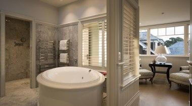 Master ensuite bathroom, estate, home, interior design, real estate, room, window, brown, gray