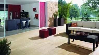 Beige outdoor patio. floor, flooring, furniture, interior design, living room, property, real estate, table, white