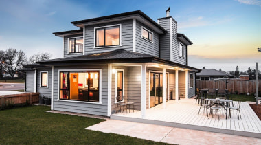 A new home clad with Envira Weatherboard System cottage, elevation, facade, home, house, property, real estate, residential area, siding, window, white