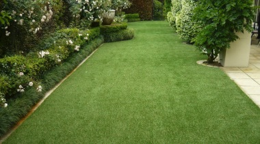 Residential landscape artificial turf, backyard, flooring, garden, grass, grass family, landscape, landscaping, lawn, plant, shrub, walkway, yard, green, brown