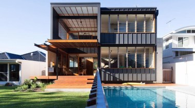 Pool just in the rear of tidal river architecture, building, elevation, estate, facade, home, house, property, real estate, roof, swimming pool, villa, teal
