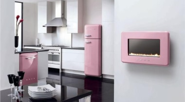 Love pink? This is the kitchen for you furniture, home appliance, interior design, kitchen appliance, product, product design, purple, white, gray