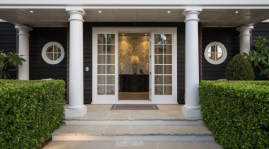 Entrance courtyard, door, estate, facade, home, house, outdoor structure, porch, property, real estate, structure, walkway, window, gray
