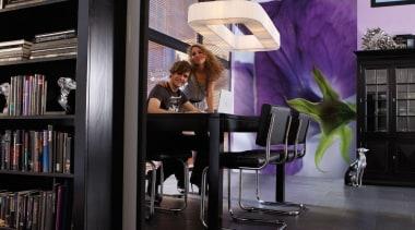 Viola Interieur bookcase, furniture, interior design, library, shelf, shelving, table, black, gray