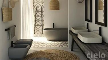 Shui Comfort bathroom, floor, flooring, home, interior design, living room, room, tile, gray, black