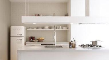 50s retro style Smeg white fridge in modern countertop, furniture, home appliance, interior design, kitchen, product design, gray