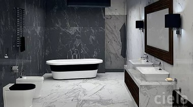 """""""A timeless collection which renews the bathroom, reinventing bathroom, black, floor, interior design, plumbing fixture, room, tile, toilet, wall, gray, black"""