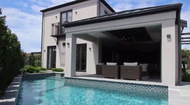 This home features the high level of finishes, building, estate, facade, family car, home, house, property, real estate, swimming pool, villa, window, black, teal