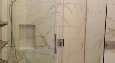 The client asked to renovate the main bathroom, bathroom, glass, plumbing fixture, shower, gray, brown