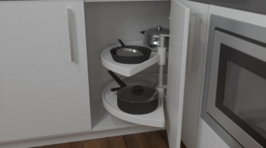 Giamo's 180° unit for blind corners is an cabinetry, countertop, drawer, floor, flooring, furniture, hardwood, home appliance, kitchen, kitchen stove, room, sink, tap, wood flooring, gray