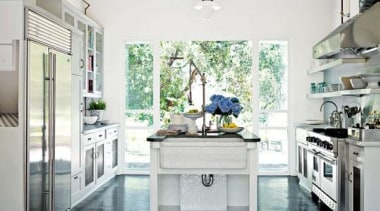 A beautiful traditional style kitchen with an industrial countertop, home appliance, interior design, kitchen, white, gray