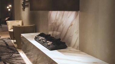 Hilton Milano architecture, floor, flooring, furniture, interior design, table, wood, black, brown