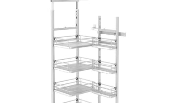 Giamo Short Chef Larder with Solid Base Shelves angle, furniture, product, shelf, shelving, white