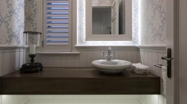 Powder room bathroom, bathroom accessory, bathroom cabinet, ceramic, countertop, floor, flooring, home, interior design, plumbing fixture, room, sink, tap, tile, wall, window, wood flooring, gray