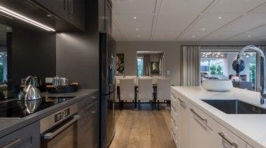 New Albany Show Home countertop, interior design, kitchen, gray, black