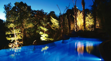Residential blue, body of water, evening, lake, landscape, landscape lighting, light, lighting, nature, reflection, river, sky, swimming pool, tree, water, water feature, blue, black
