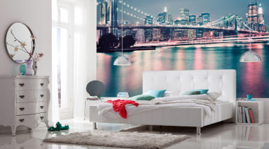 Neon Interieur bed, bed frame, furniture, interior design, room, wall, white, gray