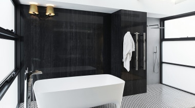 Large porcelain panels create a wood-look feature surface bathroom, floor, interior design, room, white, black