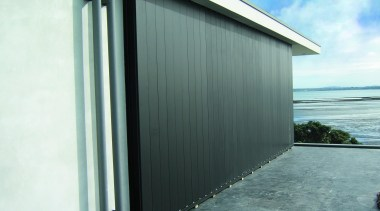 Louvreline Panel from Louvretec building, door, facade, garage, roof, shed, white, gray
