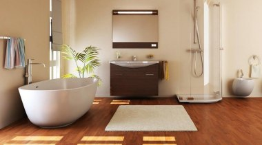 Inspirational gallery bathroom, bathroom accessory, bathroom cabinet, ceramic, floor, flooring, hardwood, interior design, laminate flooring, plumbing fixture, product design, room, sink, tile, wood flooring, brown, orange, gray