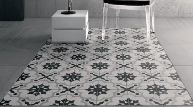 Each tile is identical and collectively combine to black, black and white, floor, flooring, tile, gray