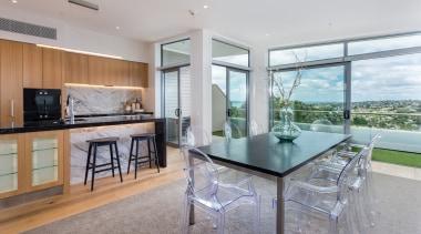 Kitchen with seaview house, interior design, kitchen, real estate, gray