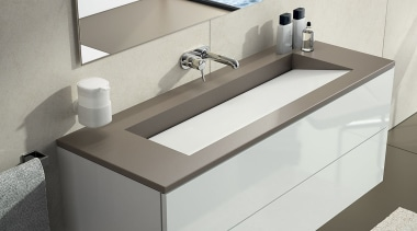 SILESTONE - BAÑO 4 BLANCO ZEUS + UNSUI angle, bathroom, bathroom sink, floor, furniture, interior design, plumbing fixture, product, product design, sink, tap, gray, white