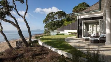 Exterior architecture, cottage, estate, home, house, landscape, property, real estate, villa, black, gray