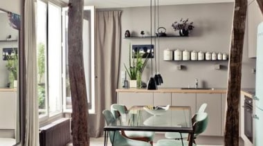Great to see a Smeg fridge in this chair, dining room, floor, flooring, furniture, interior design, living room, table, gray