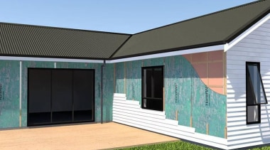RAB Board architecture, elevation, facade, home, house, property, real estate, roof, shed, siding, window, teal