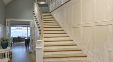 Stairway architecture, baluster, ceiling, daylighting, floor, flooring, handrail, hardwood, home, interior design, laminate flooring, lobby, stairs, wall, wood, wood flooring, orange, gray, brown