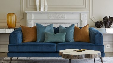 Plush, a sumptuous velvet-look polyester brings together old angle, chair, coffee table, couch, floor, furniture, home, interior design, living room, loveseat, room, sofa bed, studio couch, table, wall, gray