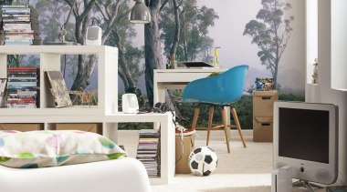 Fantasy Forest Interieur chair, floor, furniture, home, interior design, living room, table, wall, gray, white