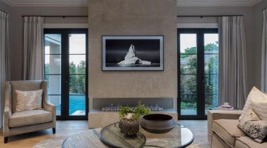 New Albany Show Home floor, home, interior design, living room, real estate, wall, window, gray, black