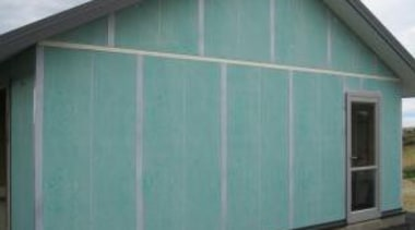 Pre - Cladding facade, garage, garage door, house, real estate, roof, shed, siding, window, teal, gray