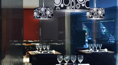 POP from La Creu, Spain ceiling, chandelier, dining room, furniture, interior design, light fixture, lighting, table, black, gray