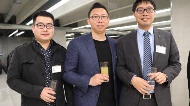 Moore Duan (Newpearl), Peter Zhang and Duncan Deng business, business executive, businessperson, entrepreneur, institution, professional, public relations, socialite, suit, gray, black