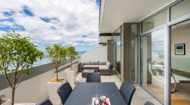 Deck with seaview apartment, architecture, balcony, condominium, house, interior design, penthouse apartment, real estate, gray