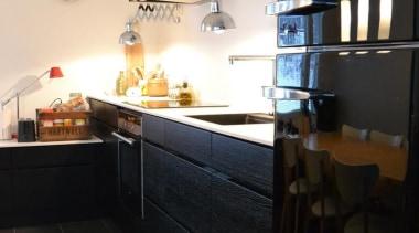 Smeg black fab fridge/freezer look sleek in this countertop, interior design, kitchen, property, room, black, white