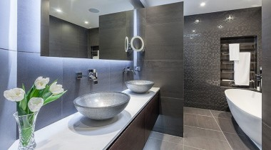 Our designs can take form even in small architecture, bathroom, countertop, home, interior design, property, room, sink, gray, black