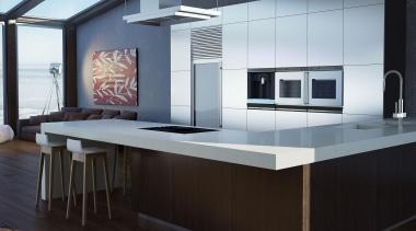 Featuring: Caesarstone Frosty Carrina countertop, floor, furniture, interior design, kitchen, product design, table, black