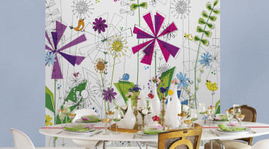 Funky Interieur flower, interior design, purple, table, wall, wallpaper, white, gray