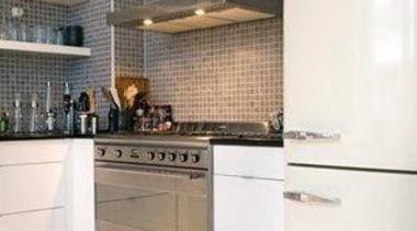 Smeg white fab fridge/freezer, Smeg freestanding oven and cabinetry, countertop, cuisine classique, floor, flooring, home appliance, interior design, kitchen, kitchen stove, room, tile, white
