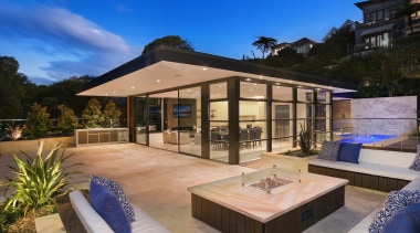 Sanctum Design backyard, estate, home, house, outdoor structure, property, real estate, resort, swimming pool, villa, blue