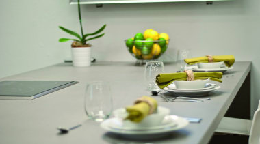 Cement dining room, furniture, interior design, table, tableware, yellow, gray