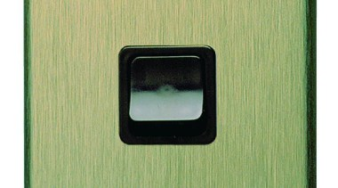 600 Series single switch black with brushed bronze green, light switch, product, green