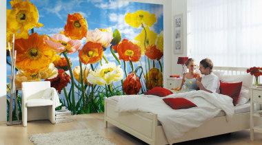 Poppy Interieur bed, bedroom, floral design, floristry, flower, flower arranging, flowering plant, home, interior design, modern art, plant, room, textile, gray