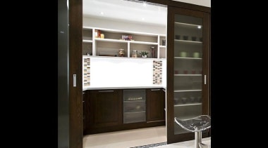 Laundry, bar, scullery, library designs, and more, we cabinetry, display case, door, furniture, interior design, window, black